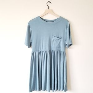 Silence + Noise Blue Baby Doll Dress